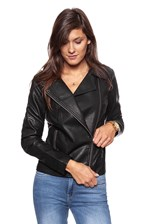 WRANGLER LEATHER JACKET BLACK W4100Z801