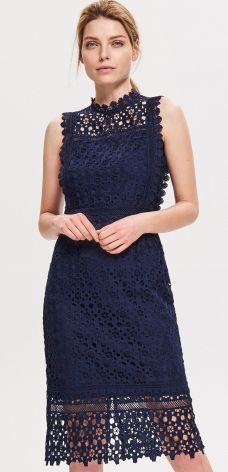 4cdb32a3ad Reserved - Sukienka z gipiury - Granatowy ...