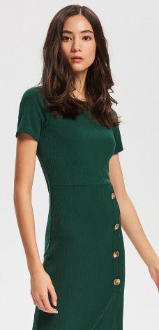 e5d3451a32 Reserved - Sukienka z prążkowanej dzianiny - Khaki ...