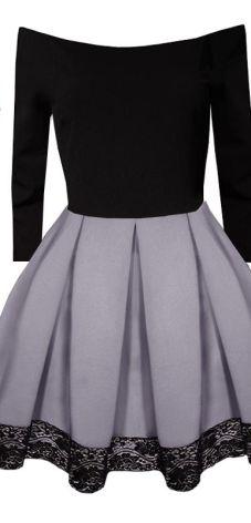 de2eecd085 Rozkloszowana Sukienka Z Neoprenu Pas Koronka P516 Allegro