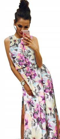 a38f0bd9af Maxi Sukienka W Kwiaty Długa Zwiewna Na Lato PK874