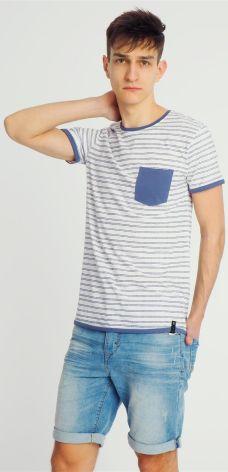 603fcd963 T-shirt męski w paski z kieszonką biały Urban Surface