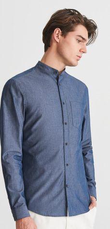 cab5c3dfe Reserved - Jeansowa koszula ze stójką - Niebieski ...
