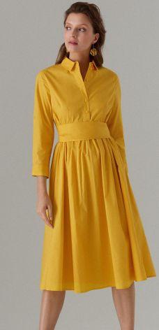 1daae0ed108b00 Mohito - Bawełniana koszulowa sukienka z wiązaniem - Żółty Mohito