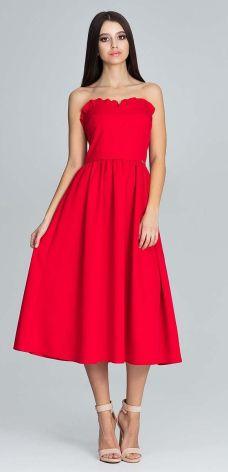 83eee3b007 Sukienka midi z marszczeniem w pasie i gorsetem XL Czerwony - Ceny i ...