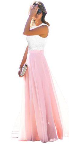 5707f82819a280 Sukienka Maxi Koronka Zwiewna Wesele Kolory J214 Allegro