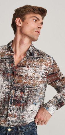 Wzorzysta koszula z efektem sprania Wielobarwny Koszule