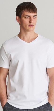 Reserved - Gładki T-shirt z dekoltem w serek - Biały