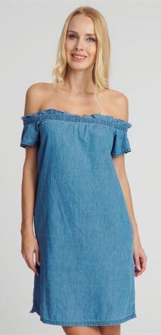 2b362fa68b Sukienka mini jeansowa z hiszpańskim dekoltem niebieska Stitch   Soul