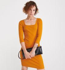 Reserved - Sukienka z prążkowanej dzianiny - Żółty