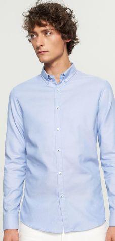 Reserved - Koszula z bawełny oxford slim fit - Niebieski