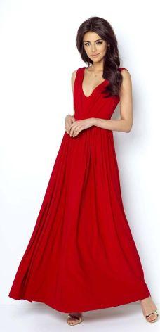 5deae8f41f IVON Czerwona Elegancka Maxi Sukienka z Dekoltem V z Przodu i na Plecach