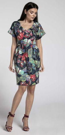 07a4fa5200 Nommo Granatowa Wizytowa Sukienka Bombka z Dekoltem V w Motyle