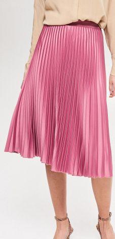 f96b59d865 Reserved - Plisowana spódnica o satynowym połysku - Fioletowy ...