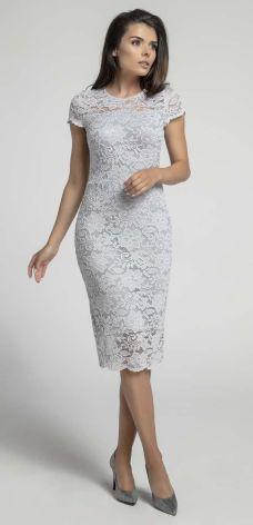 aa07243f22 Nommo Szara Koronkowa Ołówkowa Sukienka Midi z Dekoltem V na Plecach