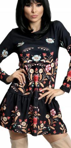 b4421a45d1b2f8 Sukienka we wzory Kwiaty Folk falbana włoska 791 Allegro