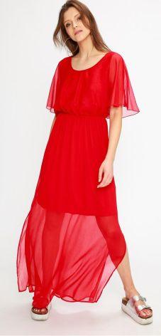 Sukienka z zakładanym dekoltem CZERWONA XS Ceny i opinie