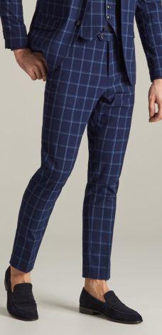5ec9d4b273201 Reserved - Spodnie garniturowe w kratę - Granatowy ...