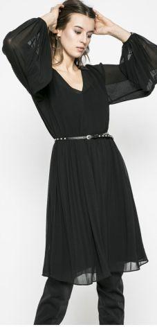c82002c2bb6873 Luźna dłuższa sukienka z długim rękawem czarna B014 - Ceny i opinie ...