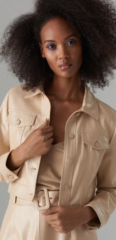 9243d26843098 Mohito - Krótka kurtka ze skóry ekologicznej Gold Label - Beżowy Mohito