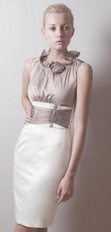 cbc4902da8 Vera Fashion Elegancka sukienka wizytowa w kolorze ecru Nicole