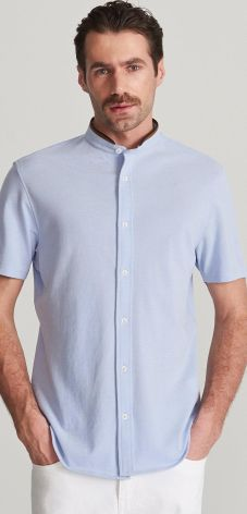 6b660e3a6c7f1 Reserved - Koszula ze stójką slim fit - Niebieski ...