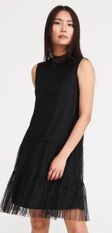 Reserved - Sukienka z tiulem - Czarny
