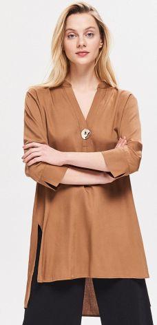 5f67516a5245 Reserved - Długa bluzka z wiskozy - Brązowy ...