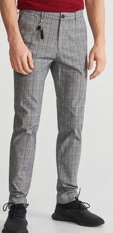 Reserved - Spodnie w kratę slim fit - Szary