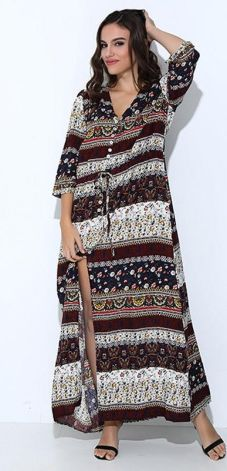 47e5a7930a025e AliExpress 3XL Boho etniczne długa letnia sukienka maxi kobiety Sexy dekolt  Sundress panie pół rękawa luźne