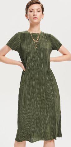 2c40180477 Reserved - Sukienka z prążkowanej dzianiny - Khaki ...