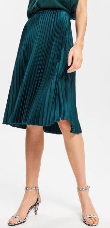 be4dba7e46 Reserved - Plisowana spódnica o satynowym połysku - Khaki ...