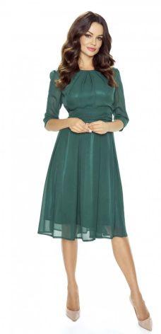b07457a8f9 Kartes Moda Wieczorowa Zielona Sukienka Szerokim Dołem