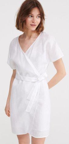 f4002fa51c7aef Reserved - Lniana kopertowa sukienka - Biały ...