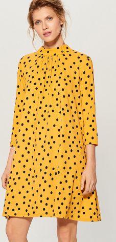 64210ed4b9 Mohito - Trapezowa sukienka ze stójką - Żółty Mohito