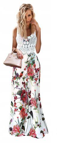3b084e11b0 Zjawiskowa Maxi Sukienka gipiura koronka kwiaty Allegro