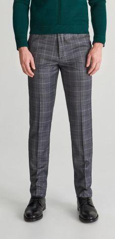 987343215393f Reserved - Spodnie garniturowe w kratę - Szary ...