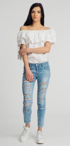 c83cf3f87a Spodnie jeansowe damskie z dziurami niebieskie Sublevel