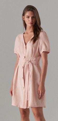 714406eba83caa Mohito - Lniana sukienka na guziki - Różowy Mohito
